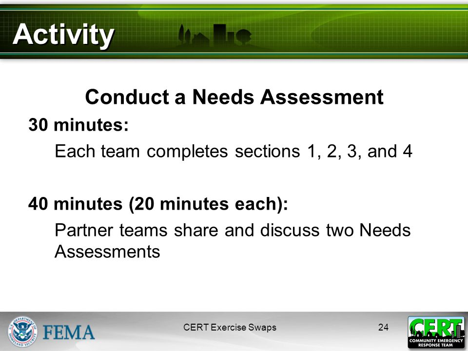 Activity Conduct a Needs Assessment 30 minutes: Each team completes sections 1, 2, 3, and 4 40 minutes (20 minutes each): Partner teams share and discuss two Needs Assessments 24CERT Exercise Swaps