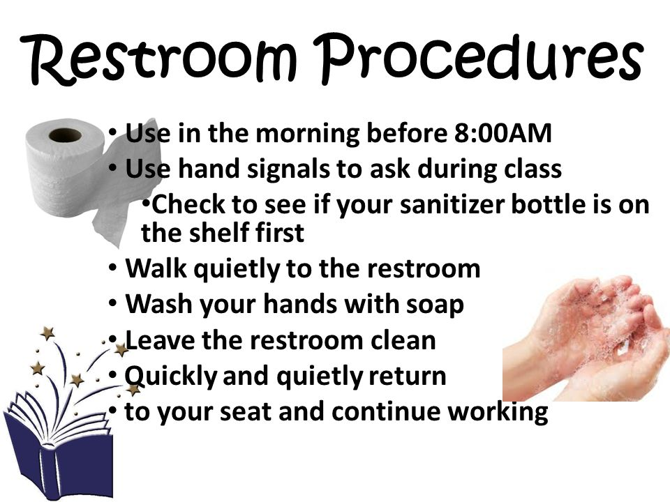 Restroom Procedures Use in the morning before 8:00AM Use hand signals to ask during class Check to see if your sanitizer bottle is on the shelf first Walk quietly to the restroom Wash your hands with soap Leave the restroom clean Quickly and quietly return to your seat and continue working