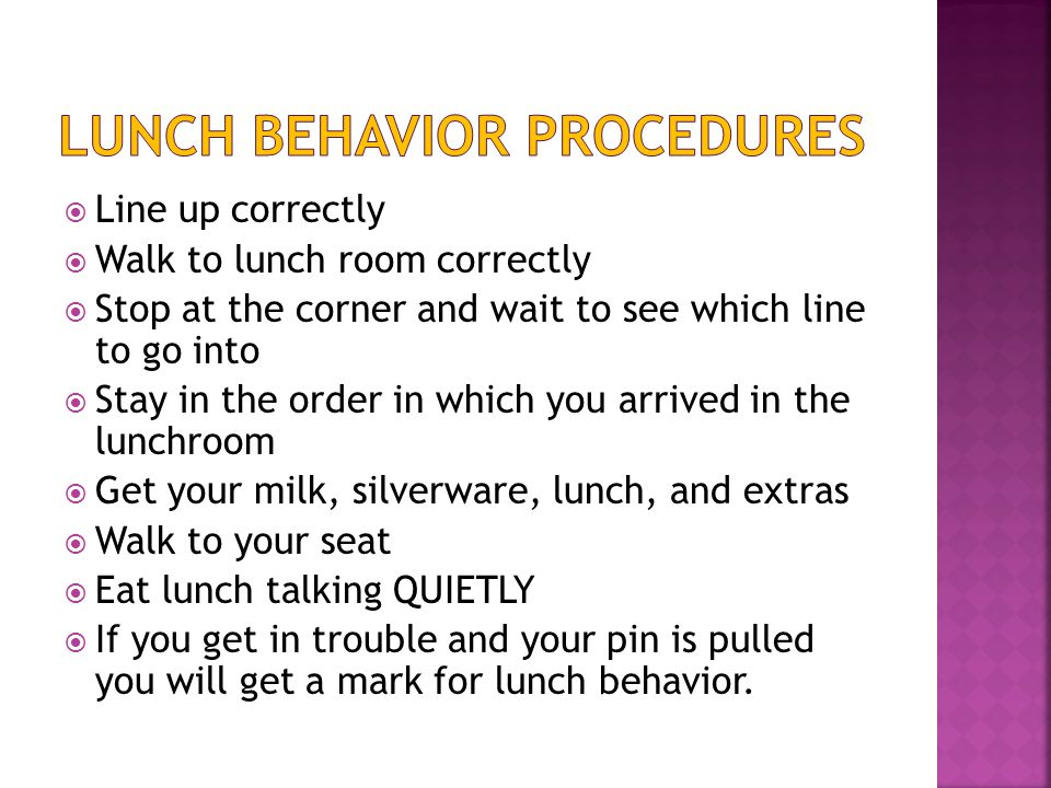  Line up correctly  Walk to lunch room correctly  Stop at the corner and wait to see which line to go into  Stay in the order in which you arrived in the lunchroom  Get your milk, silverware, lunch, and extras  Walk to your seat  Eat lunch talking QUIETLY  If you get in trouble and your pin is pulled you will get a mark for lunch behavior.