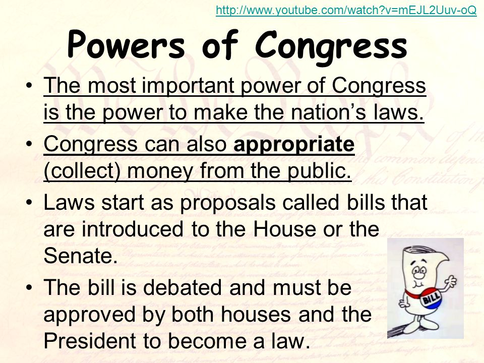 Powers of Congress The most important power of Congress is the power to make the nation's laws.