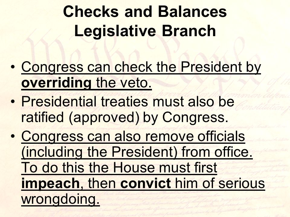 Checks and Balances Legislative Branch Congress can check the President by overriding the veto.