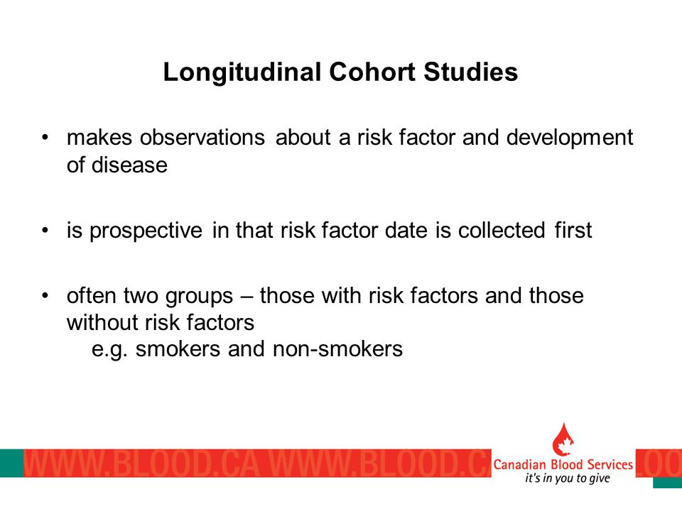 Longitudinal Cohort Studies makes observations about a risk factor and development of disease is prospective in that risk factor date is collected first often two groups – those with risk factors and those without risk factors e.g.