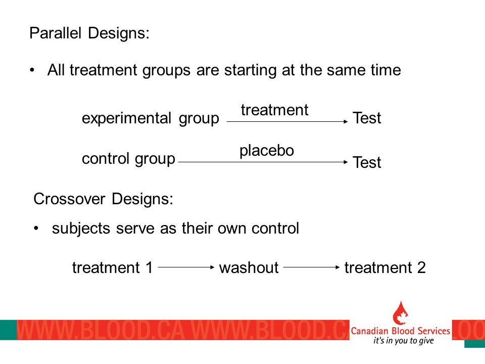 Parallel Designs: All treatment groups are starting at the same time experimental groupTest treatment control group Test placebo Crossover Designs: subjects serve as their own control treatment 1washouttreatment 2