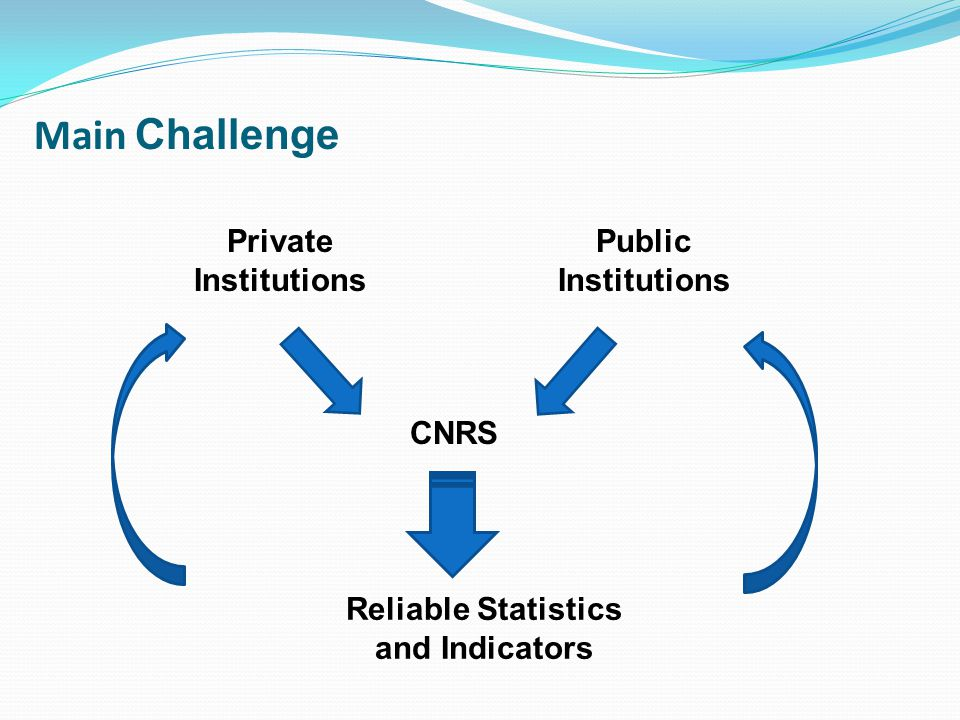 Main Challenge Private Institutions Public Institutions CNRS Reliable Statistics and Indicators