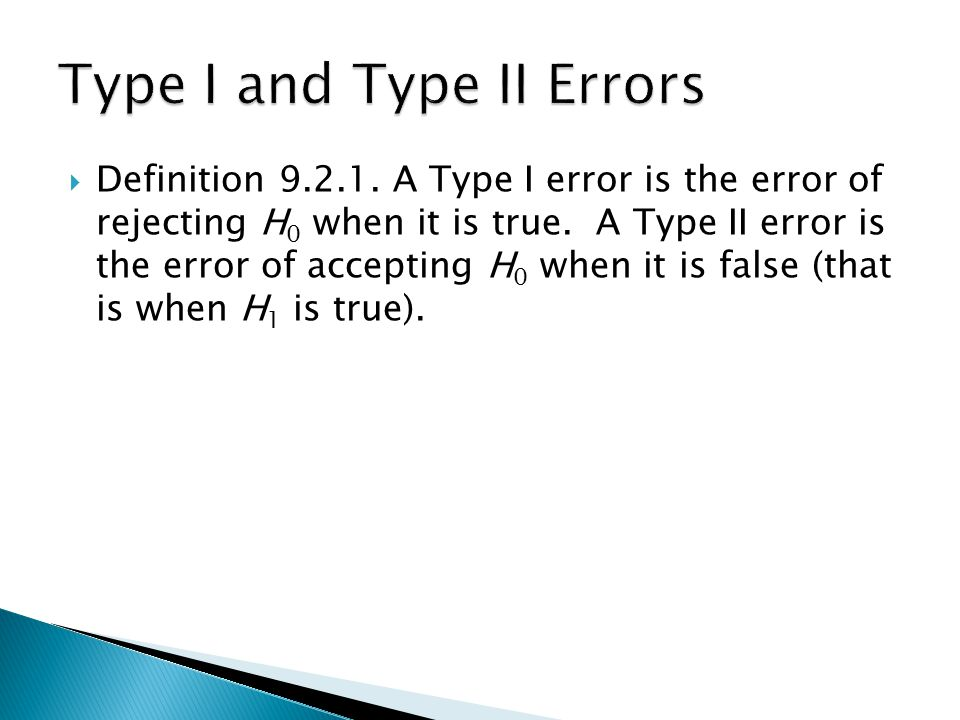  Definition A Type I error is the error of rejecting H 0 when it is true.