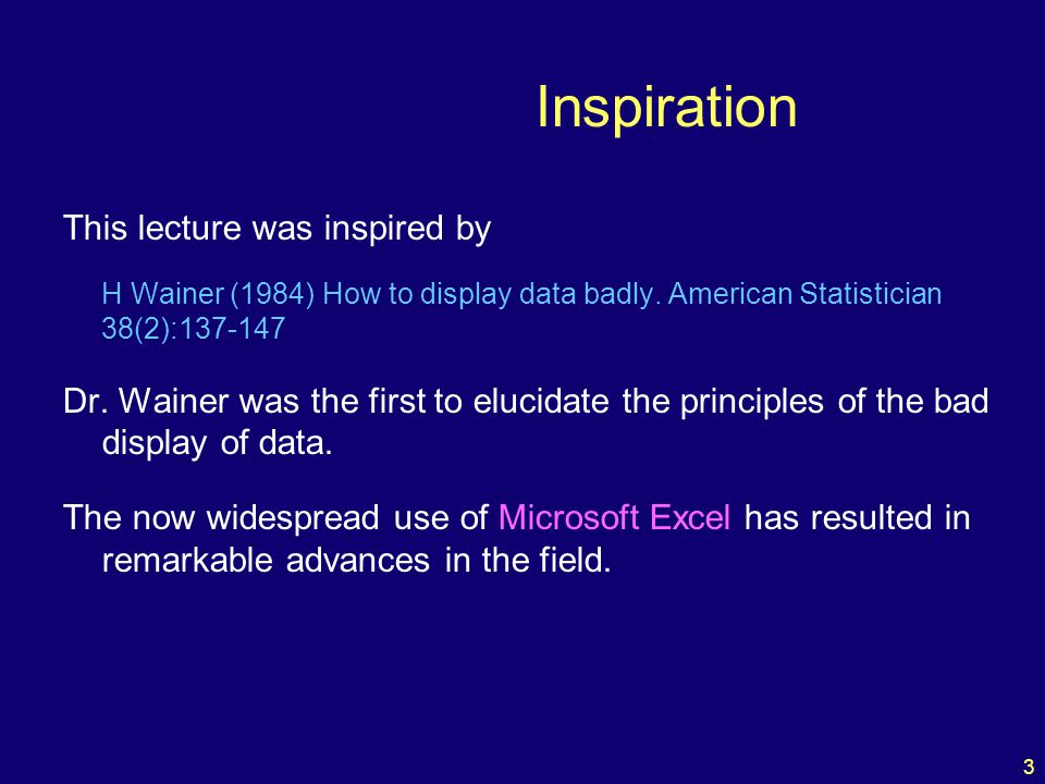 3 Inspiration This lecture was inspired by H Wainer (1984) How to display data badly.