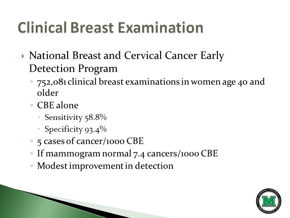  National Breast and Cervical Cancer Early Detection Program ◦ 752,081 clinical breast examinations in women age 40 and older ◦ CBE alone  Sensitivity 58.8%  Specificity 93.4% ◦ 5 cases of cancer/1000 CBE ◦ If mammogram normal 7.4 cancers/1000 CBE ◦ Modest improvement in detection