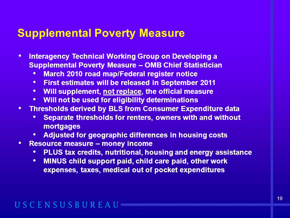 Interagency Technical Working Group on Developing a Supplemental Poverty Measure – OMB Chief Statistician March 2010 road map/Federal register notice First estimates will be released in September 2011 Will supplement, not replace, the official measure Will not be used for eligibility determinations Thresholds derived by BLS from Consumer Expenditure data Separate thresholds for renters, owners with and without mortgages Adjusted for geographic differences in housing costs Resource measure – money income PLUS tax credits, nutritional, housing and energy assistance MINUS child support paid, child care paid, other work expenses, taxes, medical out of pocket expenditures Supplemental Poverty Measure 19