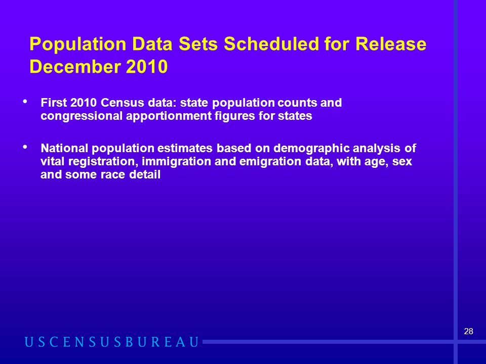 Population Data Sets Scheduled for Release December 2010 First 2010 Census data: state population counts and congressional apportionment figures for states National population estimates based on demographic analysis of vital registration, immigration and emigration data, with age, sex and some race detail 28
