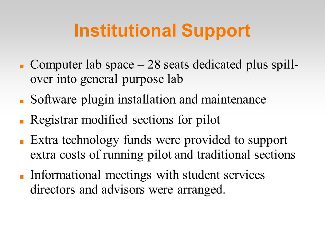 Institutional Support Computer lab space – 28 seats dedicated plus spill- over into general purpose lab Software plugin installation and maintenance Registrar modified sections for pilot Extra technology funds were provided to support extra costs of running pilot and traditional sections Informational meetings with student services directors and advisors were arranged.