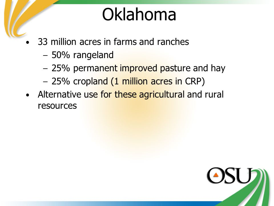 Oklahoma 33 million acres in farms and ranches – 50% rangeland – 25% permanent improved pasture and hay – 25% cropland (1 million acres in CRP) Alternative use for these agricultural and rural resources