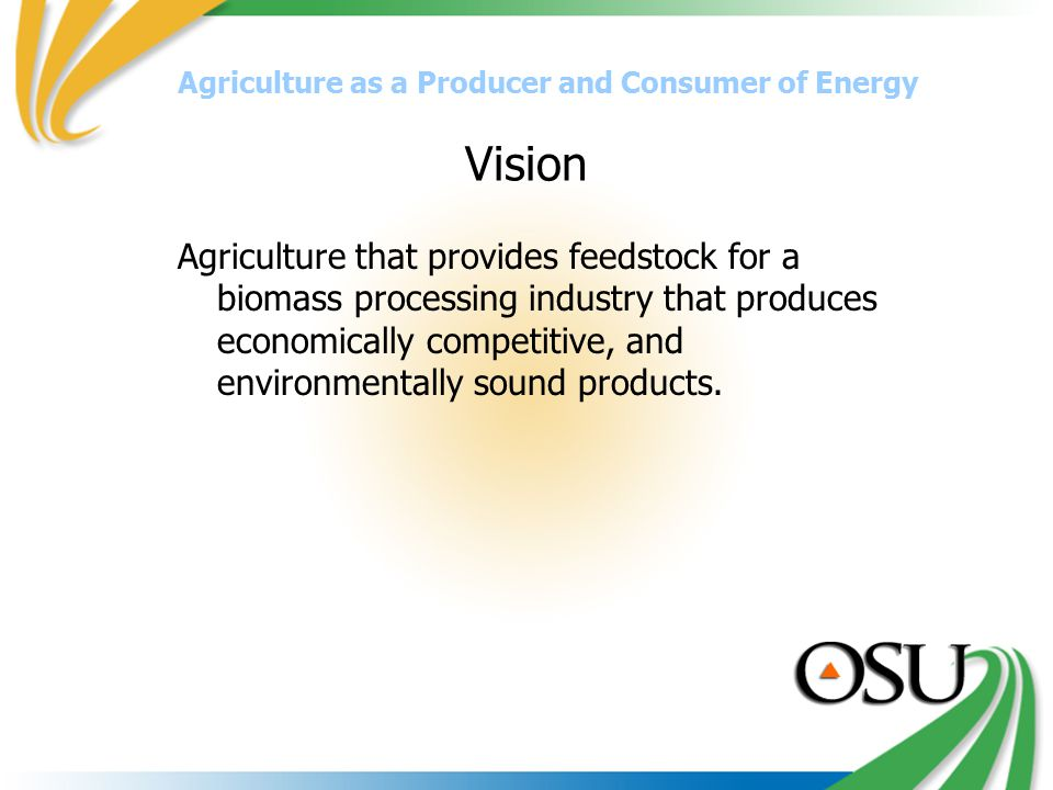 Vision Agriculture that provides feedstock for a biomass processing industry that produces economically competitive, and environmentally sound products.