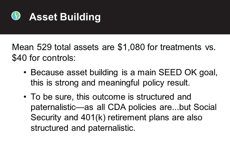 Asset Building Mean 529 total assets are $1,080 for treatments vs.