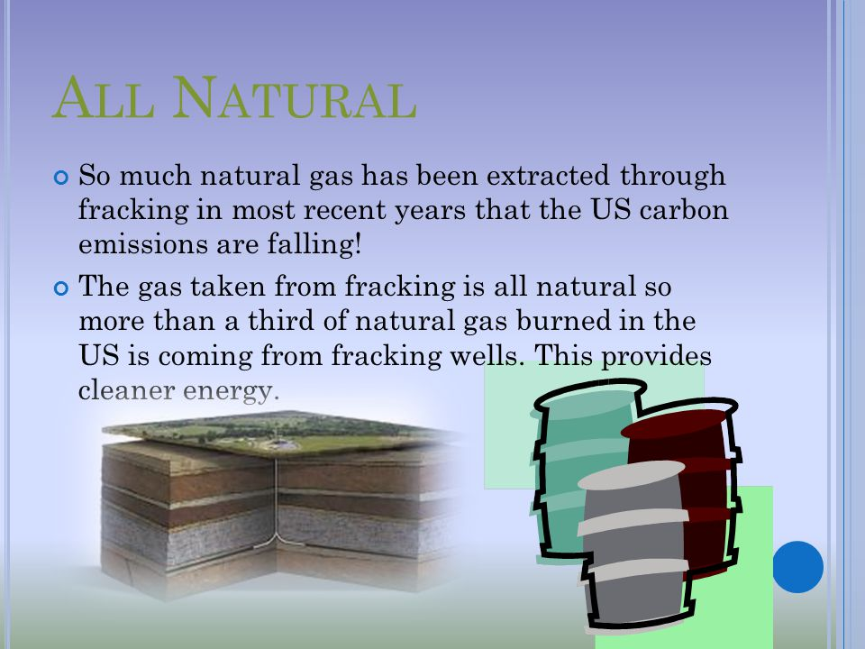 A LL N ATURAL So much natural gas has been extracted through fracking in most recent years that the US carbon emissions are falling.