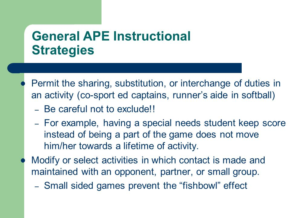 Instructional Strategies For Adapted Physical Education Chapter Ppt