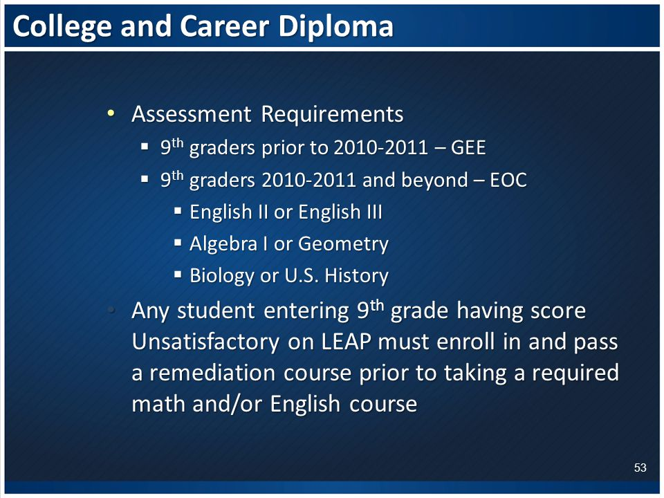 College and Career Diploma Assessment Requirements Assessment Requirements  9 th graders prior to – GEE  9 th graders and beyond – EOC  English II or English III  Algebra I or Geometry  Biology or U.S.