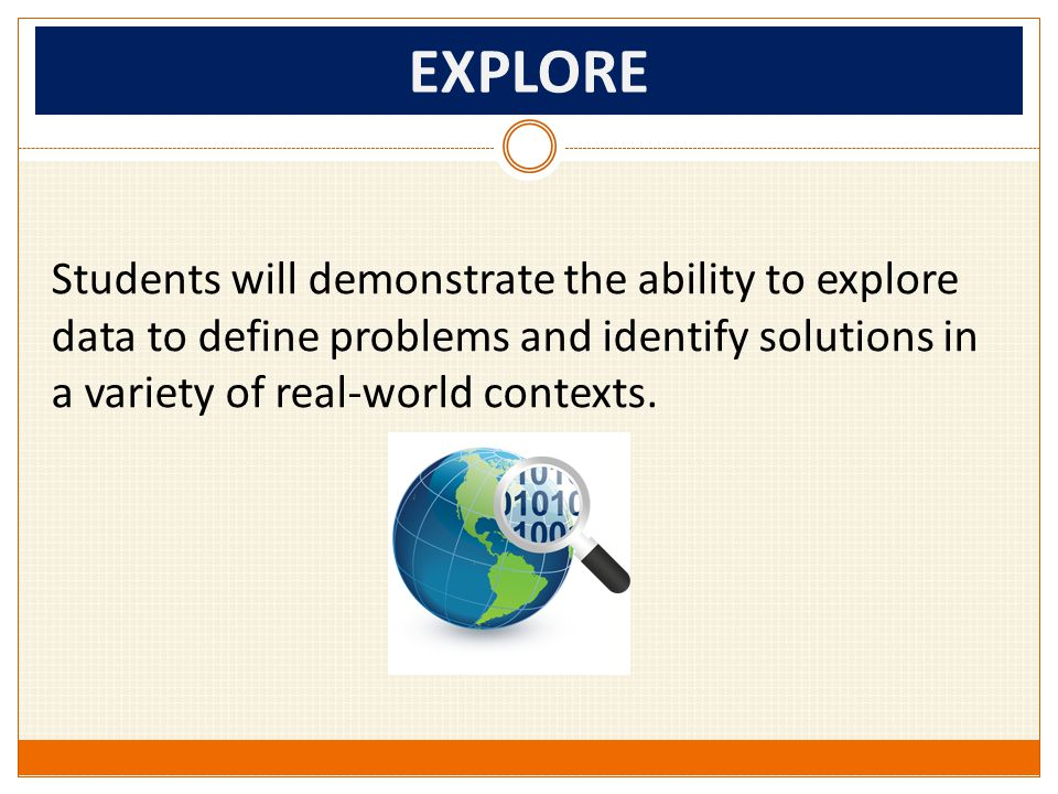EXPLORE Students will demonstrate the ability to explore data to define problems and identify solutions in a variety of real-world contexts.