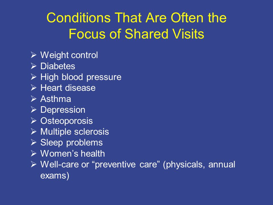 Conditions That Are Often the Focus of Shared Visits  Weight control  Diabetes  High blood pressure  Heart disease  Asthma  Depression  Osteoporosis  Multiple sclerosis  Sleep problems  Women's health  Well-care or preventive care (physicals, annual exams)