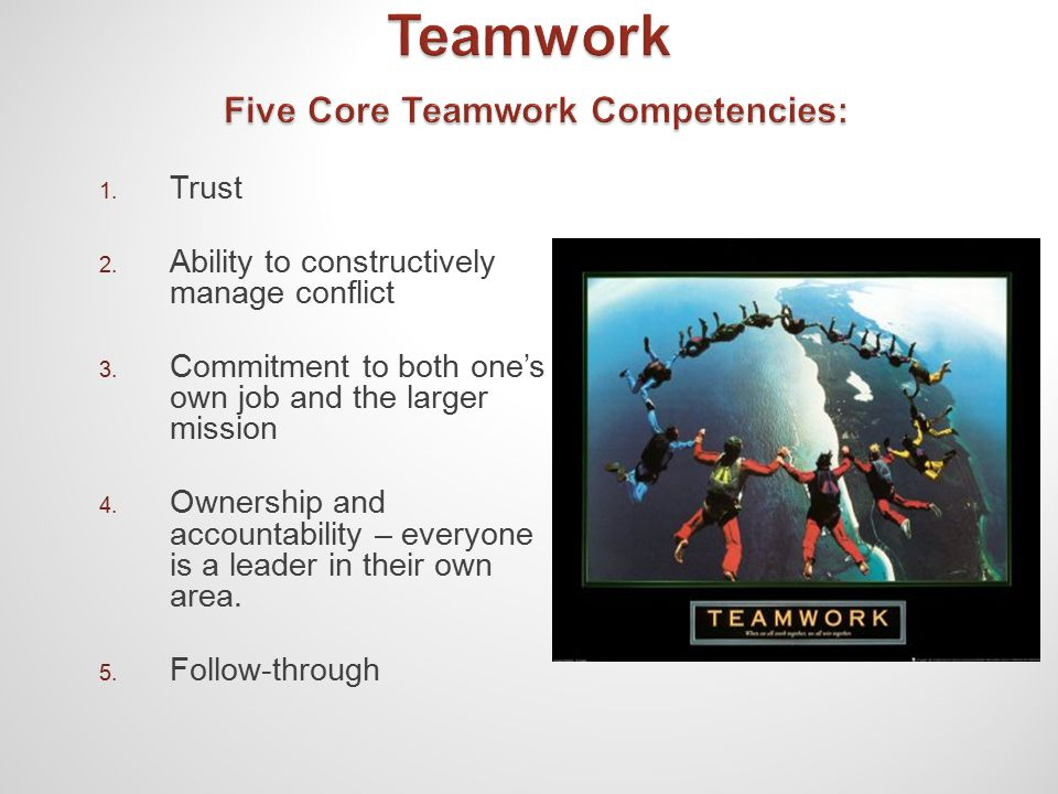 1. Trust 2. Ability to constructively manage conflict 3.