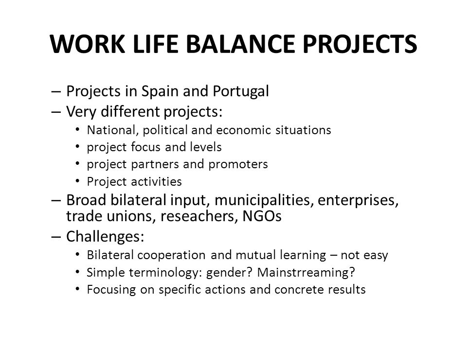 WORK LIFE BALANCE PROJECTS – Projects in Spain and Portugal – Very different projects: National, political and economic situations project focus and levels project partners and promoters Project activities – Broad bilateral input, municipalities, enterprises, trade unions, reseachers, NGOs – Challenges: Bilateral cooperation and mutual learning – not easy Simple terminology: gender.