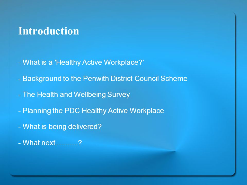 Introduction - What is a Healthy Active Workplace - Background to the Penwith District Council Scheme - The Health and Wellbeing Survey - Planning the PDC Healthy Active Workplace - What is being delivered.