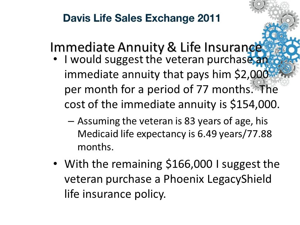Immediate Annuity & Life Insurance I would suggest the veteran purchase an immediate annuity that pays him $2,000 per month for a period of 77 months.