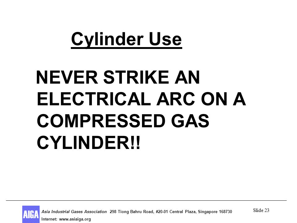 Slide 23 Asia Industrial Gases Association 298 Tiong Bahru Road, #20-01 Central Plaza, Singapore Internet: http//  Asia Industrial Gases Association 298 Tiong Bahru Road, #20-01 Central Plaza, Singapore Internet:   Cylinder Use NEVER STRIKE AN ELECTRICAL ARC ON A COMPRESSED GAS CYLINDER!!