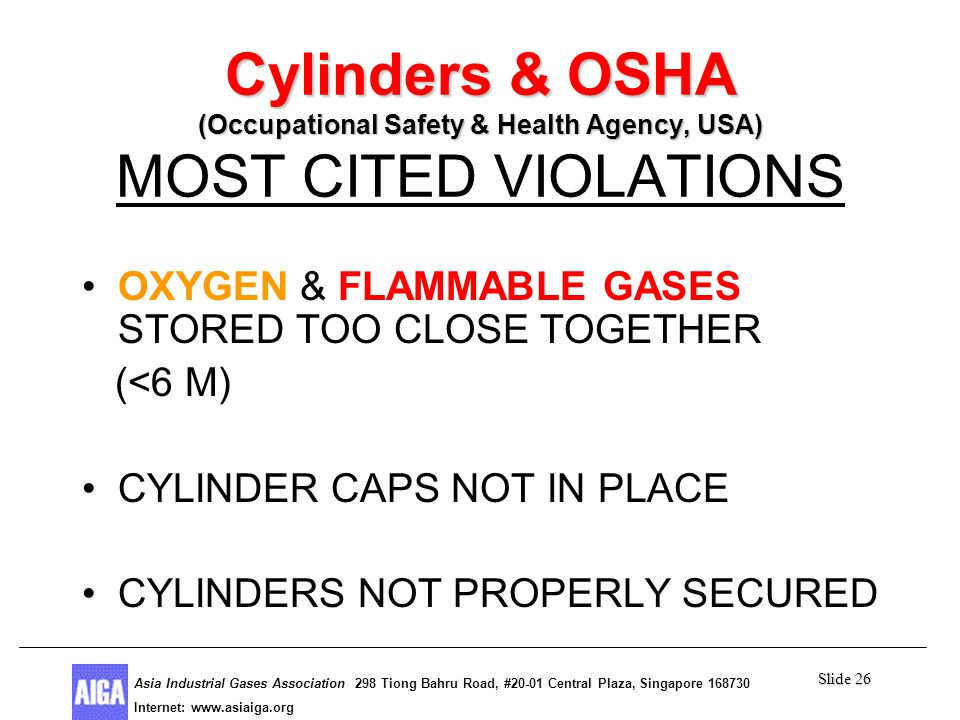 Slide 26 Asia Industrial Gases Association 298 Tiong Bahru Road, #20-01 Central Plaza, Singapore Internet: http//  Asia Industrial Gases Association 298 Tiong Bahru Road, #20-01 Central Plaza, Singapore Internet:   Cylinders & OSHA (Occupational Safety & Health Agency, USA) Cylinders & OSHA (Occupational Safety & Health Agency, USA) MOST CITED VIOLATIONS OXYGEN & FLAMMABLE GASES STORED TOO CLOSE TOGETHER (<6 M) CYLINDER CAPS NOT IN PLACE CYLINDERS NOT PROPERLY SECURED
