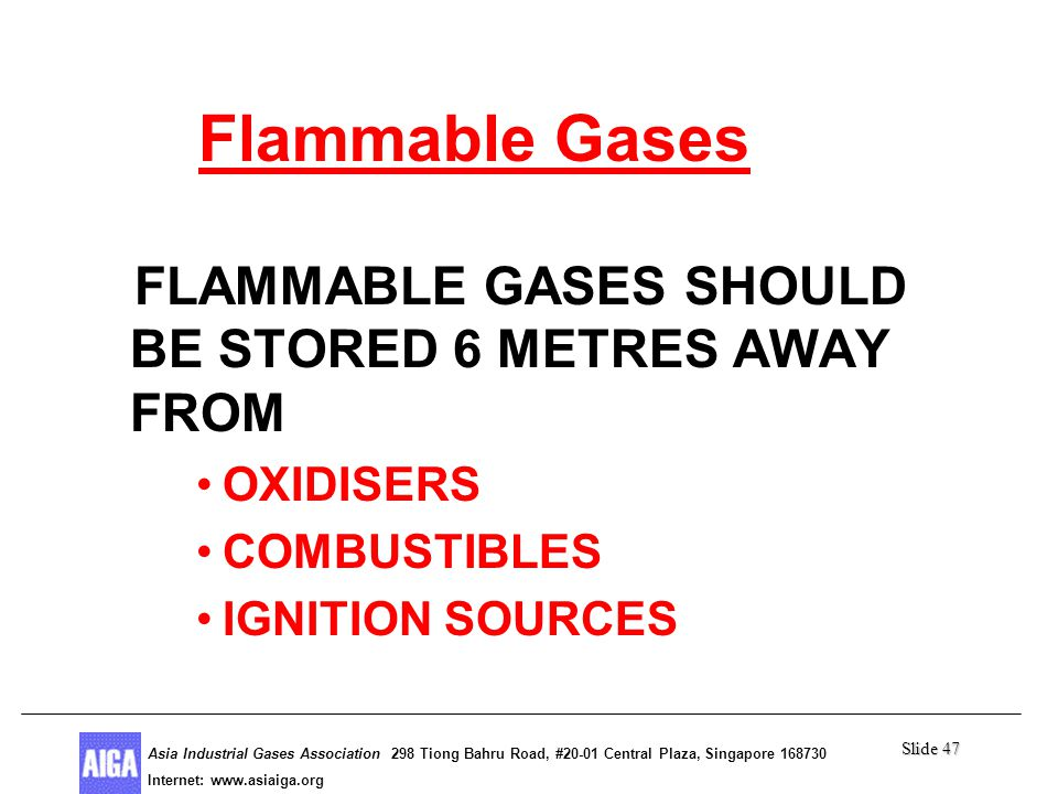 Slide 47 Asia Industrial Gases Association 298 Tiong Bahru Road, #20-01 Central Plaza, Singapore Internet: http//  Asia Industrial Gases Association 298 Tiong Bahru Road, #20-01 Central Plaza, Singapore Internet:   Flammable Gases FLAMMABLE GASES SHOULD BE STORED 6 METRES AWAY FROM OXIDISERS COMBUSTIBLES IGNITION SOURCES