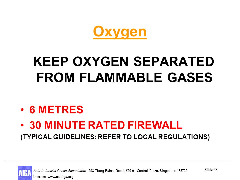 Slide 53 Asia Industrial Gases Association 298 Tiong Bahru Road, #20-01 Central Plaza, Singapore Internet: http//  Asia Industrial Gases Association 298 Tiong Bahru Road, #20-01 Central Plaza, Singapore Internet:   Oxygen KEEP OXYGEN SEPARATED FROM FLAMMABLE GASES 6 METRES 30 MINUTE RATED FIREWALL (TYPICAL GUIDELINES; REFER TO LOCAL REGULATIONS)