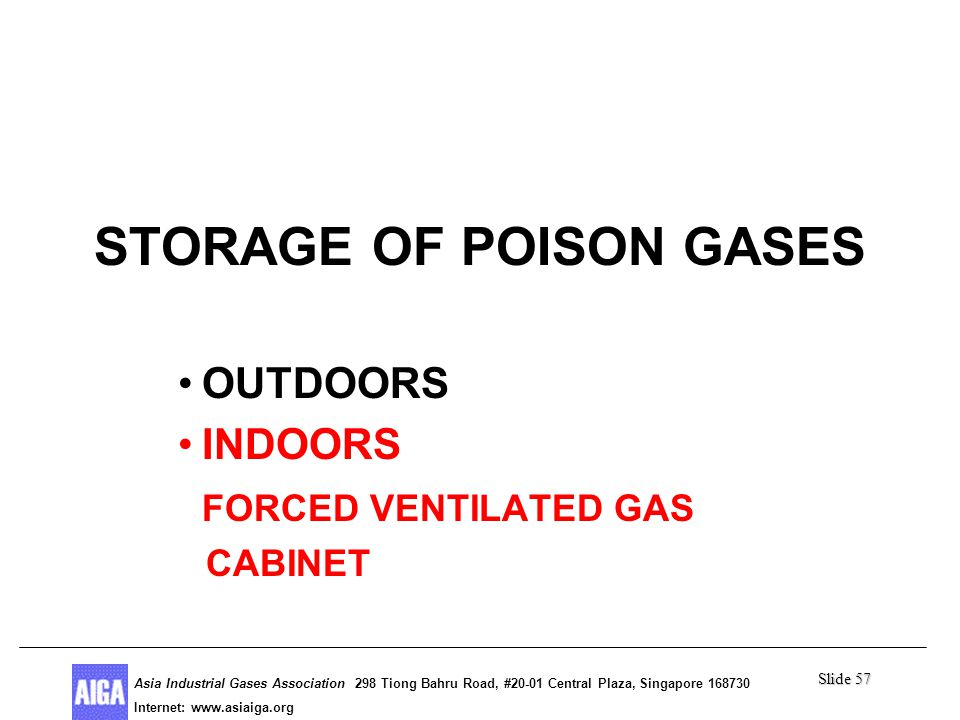 Slide 57 Asia Industrial Gases Association 298 Tiong Bahru Road, #20-01 Central Plaza, Singapore Internet: http//  Asia Industrial Gases Association 298 Tiong Bahru Road, #20-01 Central Plaza, Singapore Internet:   Poison Gases STORAGE OF POISON GASES OUTDOORS INDOORS FORCED VENTILATED GAS CABINET