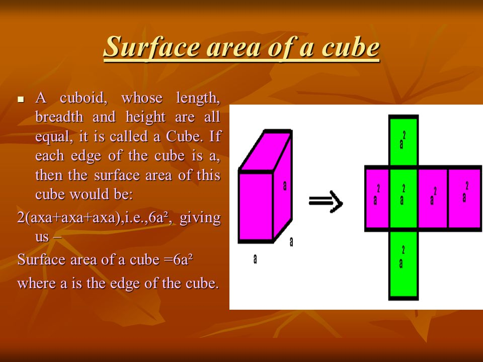 the concept of surface area of a cube essay Surface area of cube  surface area of a cube is the total area of the outside surfaces of the cube or we can say that number of square units that will exactly cover the surface of a cube interested ones can get surface area of cube formula and how to calculate tsa, csa, lsa of cube from here.