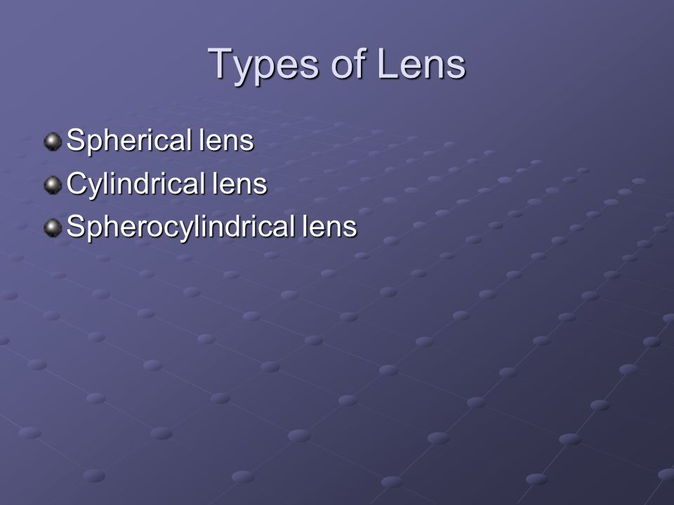 Types of Lens Spherical lens Cylindrical lens Spherocylindrical lens