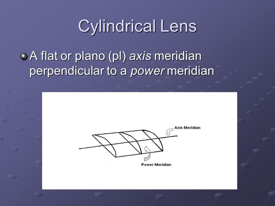 Cylindrical Lens A flat or plano (pl) axis meridian perpendicular to a power meridian