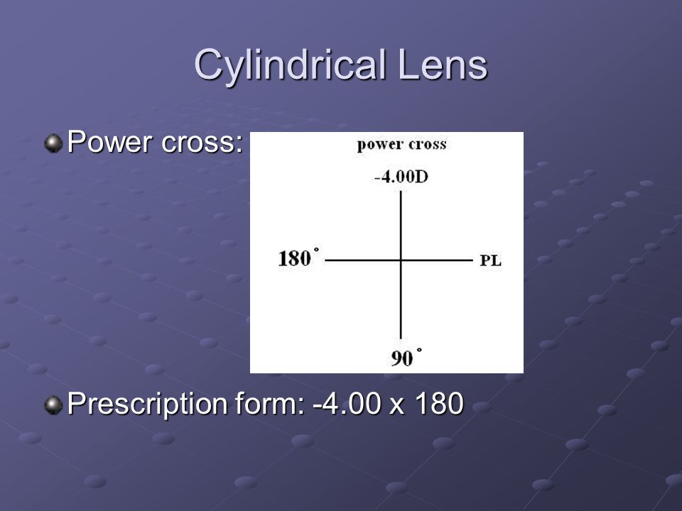 Cylindrical Lens Power cross: Prescription form: x 180