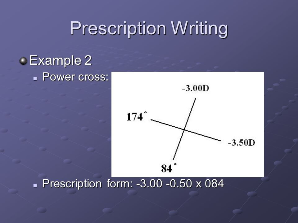 Prescription Writing Example 2 Power cross: Power cross: Prescription form: x 084 Prescription form: x 084