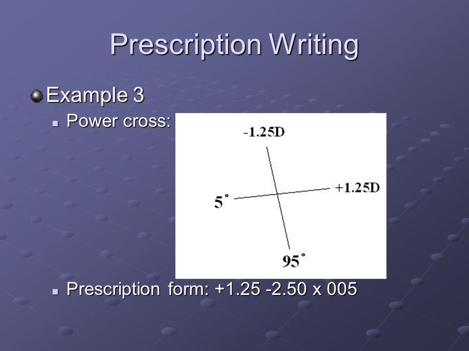 Prescription Writing Example 3 Power cross: Power cross: Prescription form: x 005 Prescription form: x 005