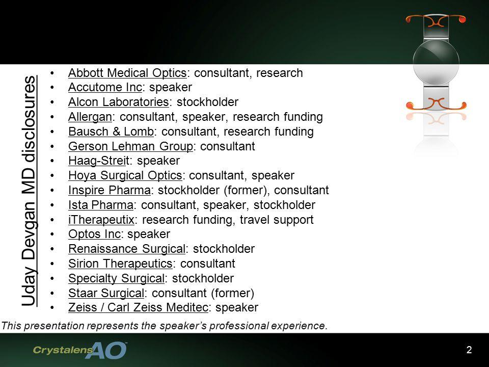 2 Abbott Medical Optics Consultant Research Accutome Inc Speaker Alcon Laboratories Stockholder