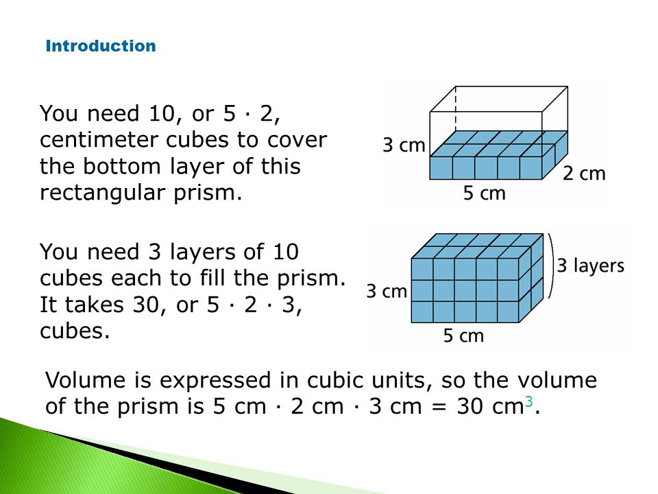 You need 10, or 5 · 2, centimeter cubes to cover the bottom layer of this rectangular prism.