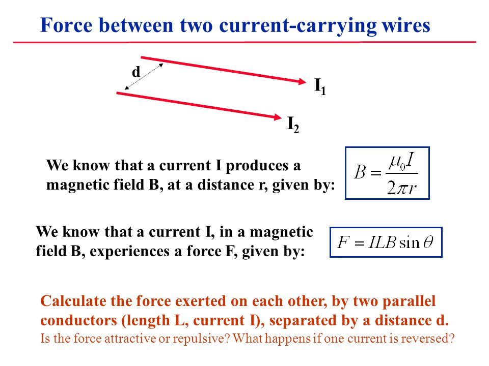Force between two current-carrying wires I1I1 I2I2 d We know that a current I produces a magnetic field B, at a distance r, given by: We know that a current I, in a magnetic field B, experiences a force F, given by: Calculate the force exerted on each other, by two parallel conductors (length L, current I), separated by a distance d.