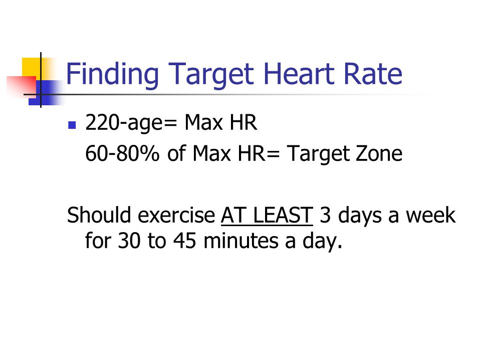 Finding Target Heart Rate 220-age= Max HR 60-80% of Max HR= Target Zone Should exercise AT LEAST 3 days a week for 30 to 45 minutes a day.