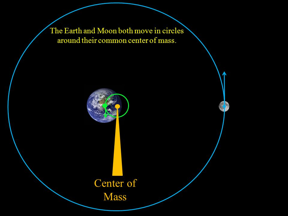 Center of Mass The Earth and Moon both move in circles around their common center of mass.