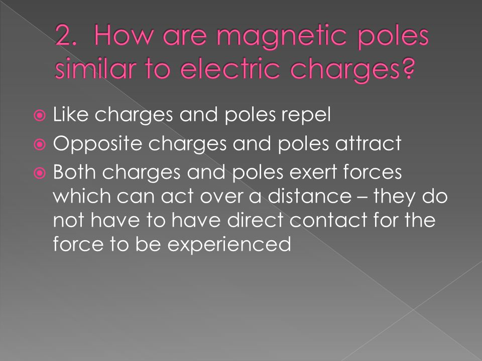  Like charges and poles repel  Opposite charges and poles attract  Both charges and poles exert forces which can act over a distance – they do not have to have direct contact for the force to be experienced