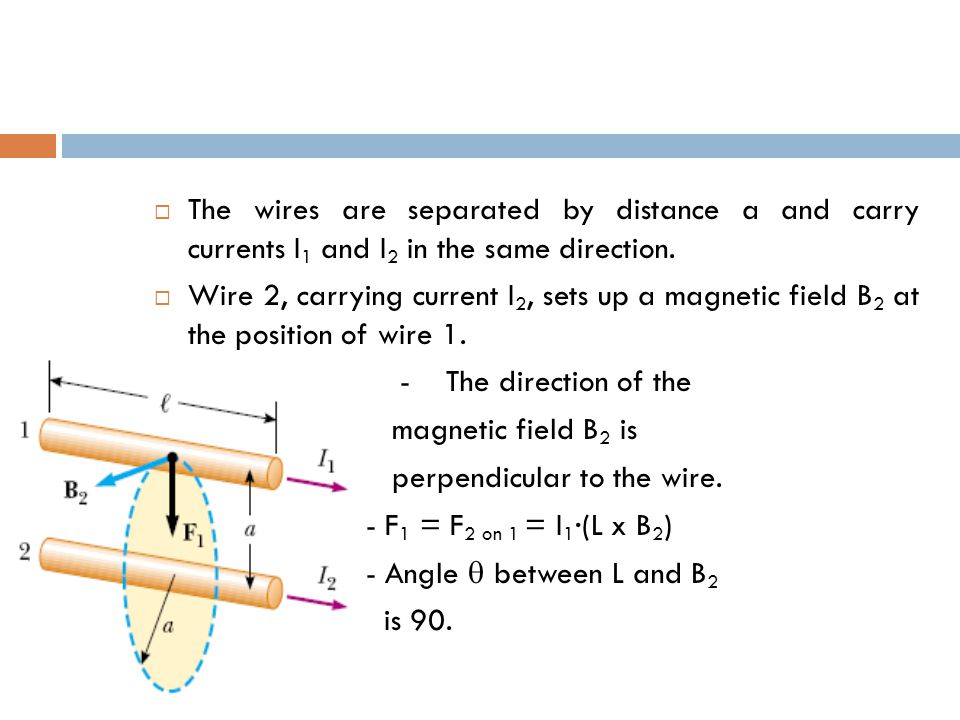  The wires are separated by distance a and carry currents I 1 and I 2 in the same direction.