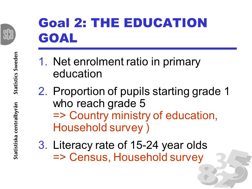 Goal 2: THE EDUCATION GOAL 1.Net enrolment ratio in primary education 2.Proportion of pupils starting grade 1 who reach grade 5 => Country ministry of education, Household survey ) 3.Literacy rate of year olds => Census, Household survey