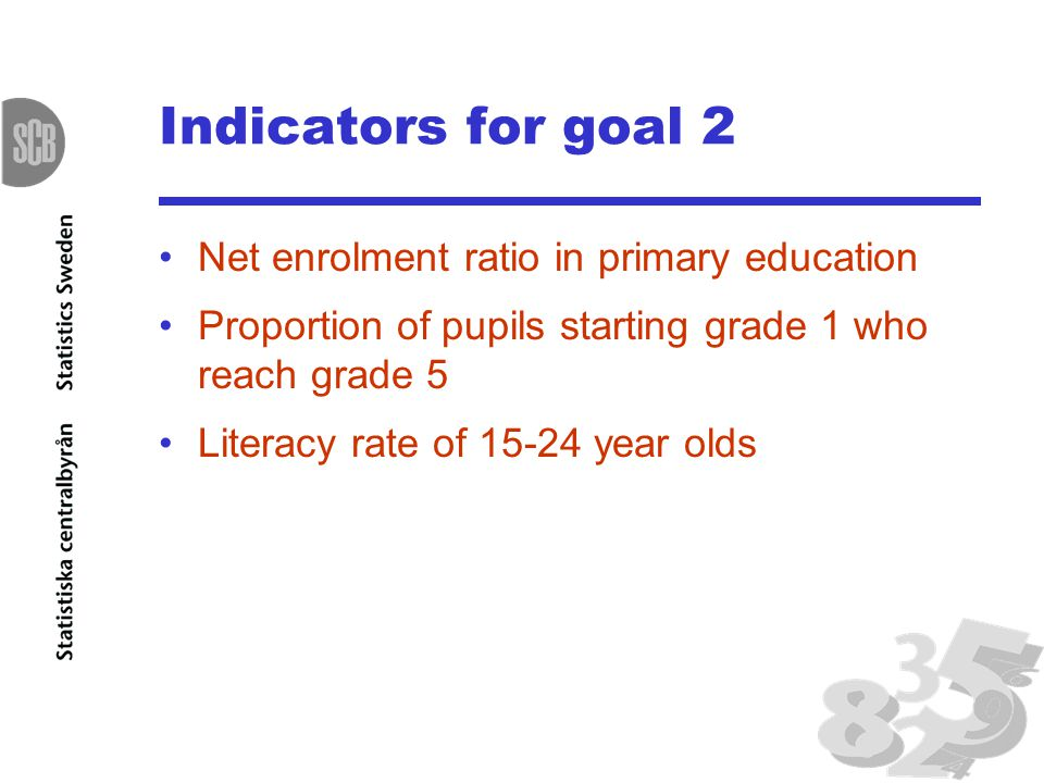 Indicators for goal 2 Net enrolment ratio in primary education Proportion of pupils starting grade 1 who reach grade 5 Literacy rate of year olds
