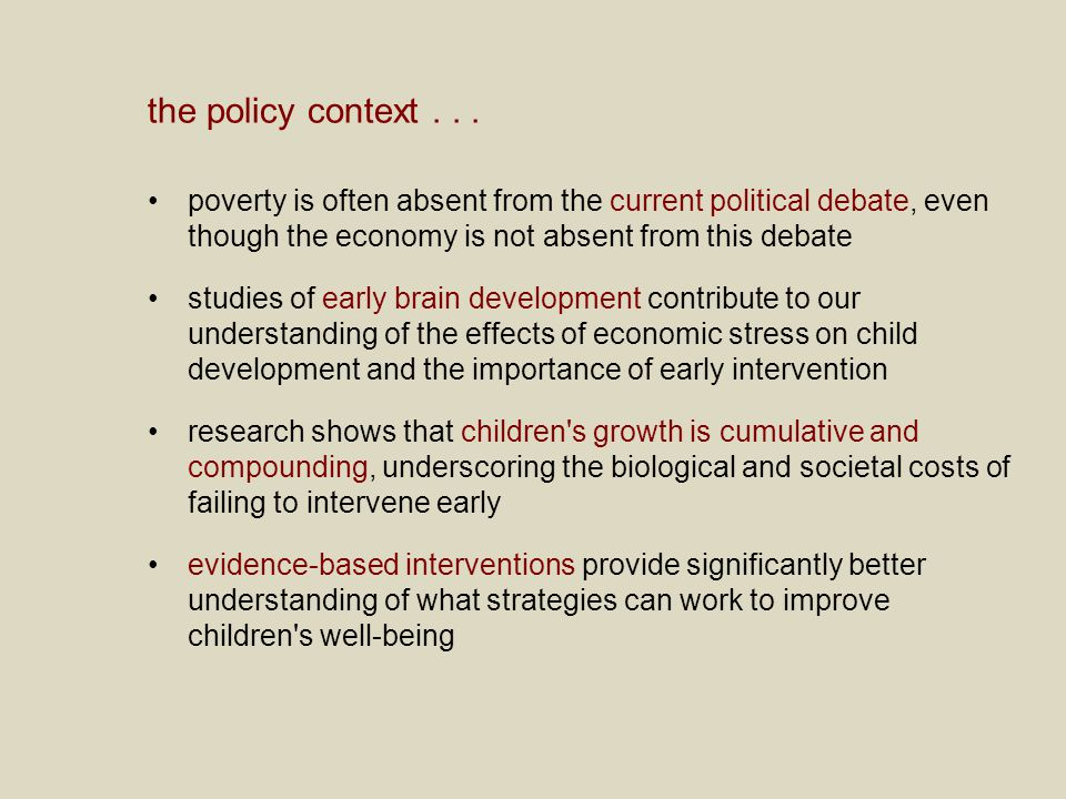 the policy context...