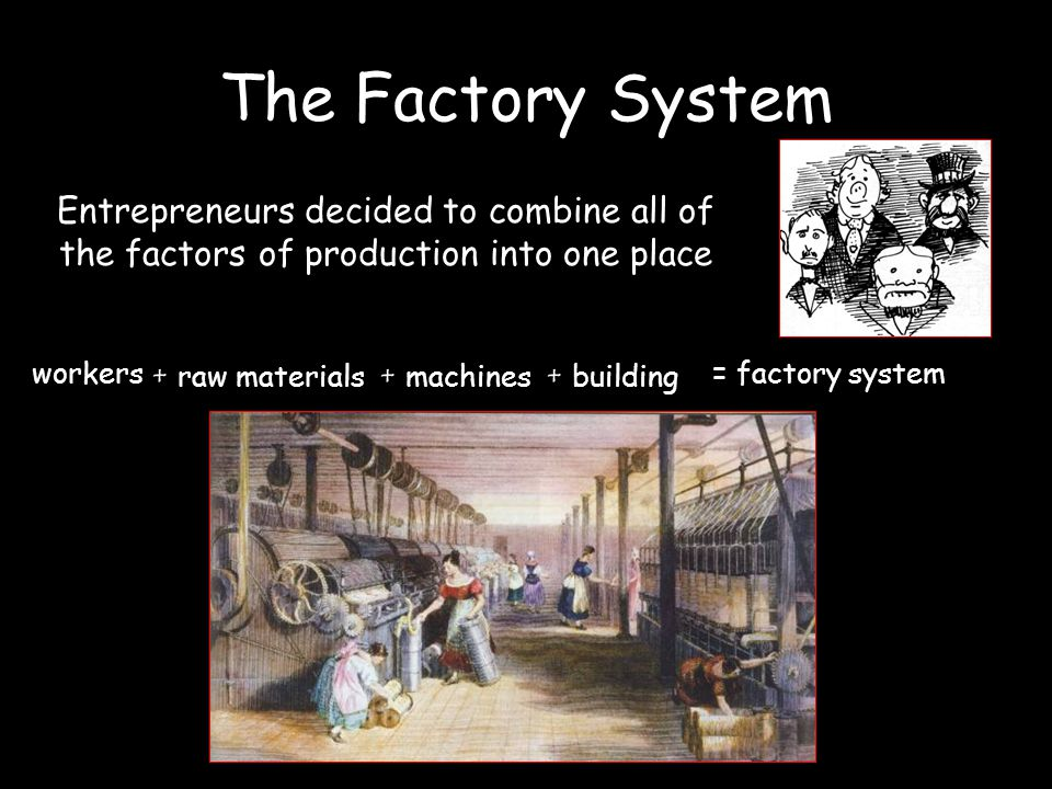 Entrepreneurs decided to combine all of the factors of production into one place workers + r aw materials + m achines + b uilding = factory system