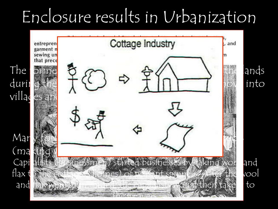 Enclosure results in Urbanization The former tenant farmers that were chased off the lands during the period of enclosure were forced to move into villages and towns.
