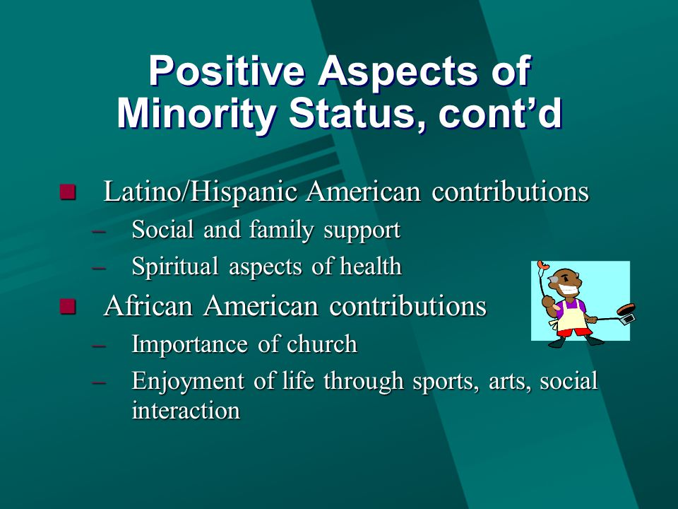 Positive Aspects of Minority Status, cont'd Latino/Hispanic American contributions Latino/Hispanic American contributions –Social and family support –Spiritual aspects of health African American contributions African American contributions –Importance of church –Enjoyment of life through sports, arts, social interaction